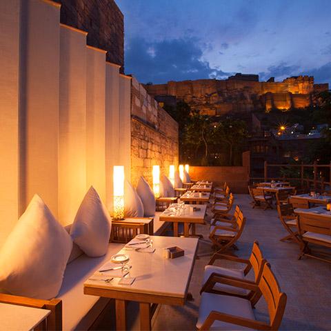 RAAS Jodhpur Dining below Mehrangarh Fort